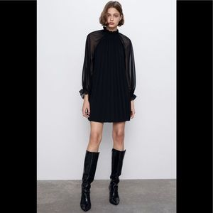 NWT Zara Black Pleated Mini Dress Long Sleeve S